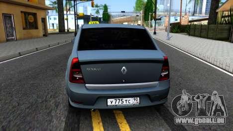 Renault Logan Taxi pour GTA San Andreas sur la vue arrière gauche