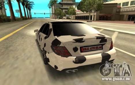 Mercedes-Benz C63 für GTA San Andreas zurück linke Ansicht