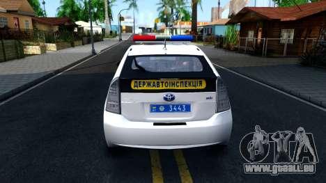 Toyota Prius Ukraine Police für GTA San Andreas zurück linke Ansicht