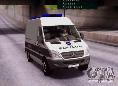 Mercedes-Benz Sprinter BIH Police Van pour GTA San Andreas vue arrière