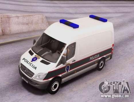 Mercedes-Benz Sprinter BIH Police Van pour GTA San Andreas vue intérieure