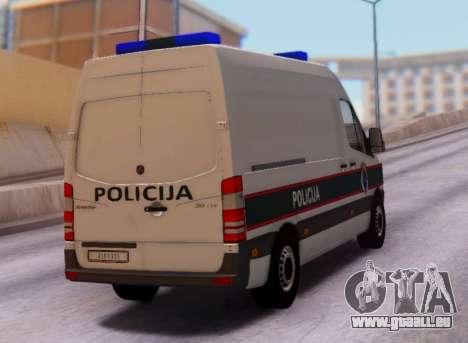 Mercedes-Benz Sprinter BIH Police Van pour GTA San Andreas vue de droite