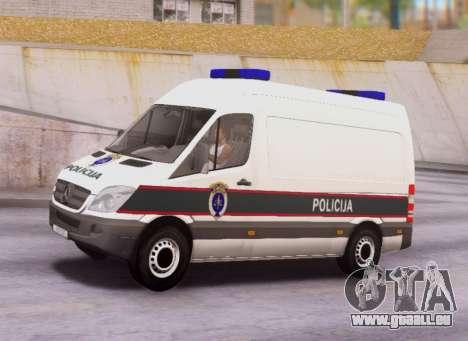 Mercedes-Benz Sprinter BIH Police Van pour GTA San Andreas laissé vue