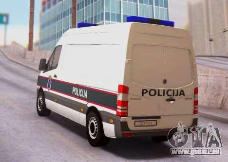 Mercedes-Benz Sprinter BIH Police Van pour GTA San Andreas sur la vue arrière gauche