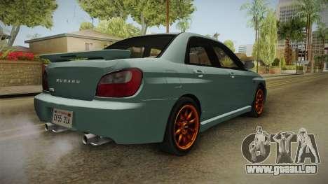 Subaru Impreza WRX Tunable für GTA San Andreas zurück linke Ansicht