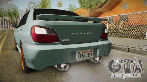 Subaru Impreza WRX Tunable für GTA San Andreas Innen