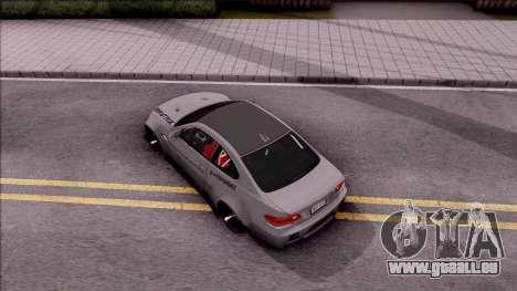 BMW M3 E92 Liberty Walk Performance 2013 pour GTA San Andreas vue arrière