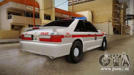 Ford Mustang SSP 1993 YRP pour GTA San Andreas sur la vue arrière gauche