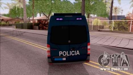 Mercedes-Benz Sprinter Spanish Police pour GTA San Andreas sur la vue arrière gauche