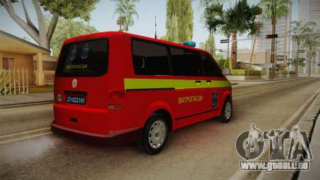 Volkswagen T5 Border Police für GTA San Andreas zurück linke Ansicht