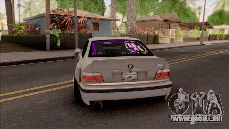 BMW M3 E36 Drift Rocket Bunny v4 pour GTA San Andreas sur la vue arrière gauche