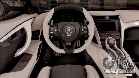 Acura NSX Stance 2017 Itasha Nami pour GTA San Andreas vue intérieure