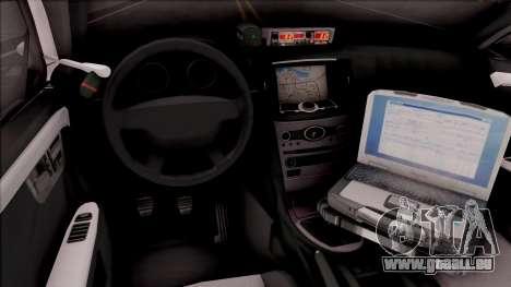 Ford Taurus 2011 Des Moines PD pour GTA San Andreas vue intérieure