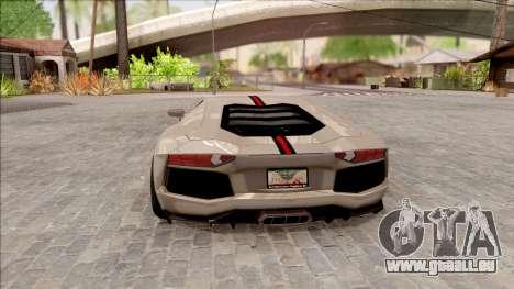 Lamborghini Aventador Shark New Edition White für GTA San Andreas zurück linke Ansicht