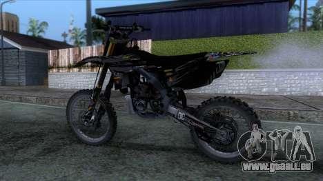 Yamaha YZ 250 FMX für GTA San Andreas zurück linke Ansicht