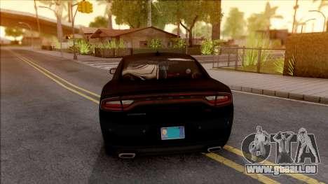 Dodge Charger Unmarked 2015 pour GTA San Andreas sur la vue arrière gauche