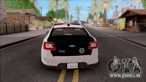Ford Taurus 2011 Des Moines PD pour GTA San Andreas sur la vue arrière gauche