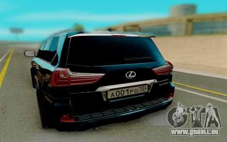 Lexus LX570 pour GTA San Andreas sur la vue arrière gauche