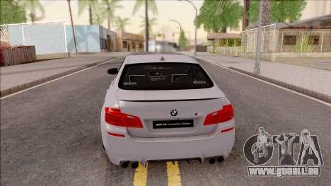 BMW M5 F10 Competition Edition pour GTA San Andreas sur la vue arrière gauche