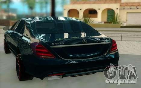 Mercedes S500 W222 pour GTA San Andreas sur la vue arrière gauche