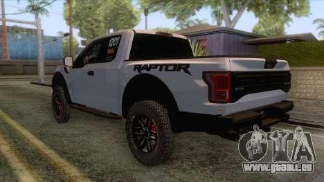 Ford Raptor 2017 Race Truck pour GTA San Andreas vue de droite