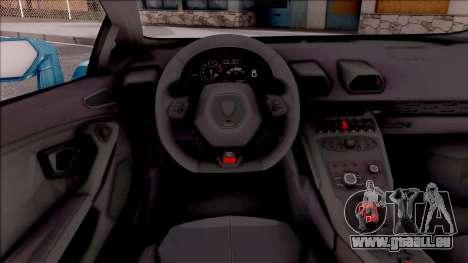 Lamborghini Huracan LB Team-eXtreme pour GTA San Andreas vue intérieure