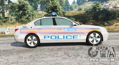 GTA 5 BMW 525d (E60) Metropolitan Police [replace] vue latérale gauche