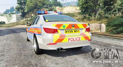 GTA 5 BMW 525d (E60) Metropolitan Police [replace] arrière vue latérale gauche