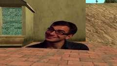 Cardboard flying smiling man