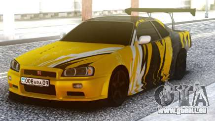 Nissan Skyline R34 GT-R Yellow & Black für GTA San Andreas