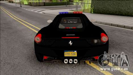 Ferrari 458 Italia 2015 Police Car pour GTA San Andreas