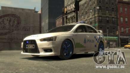 Mitsubishi Evo X Malaysischen Polizei Auto für GTA 4